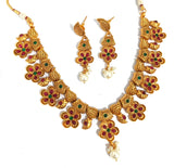 Traditional flower design kemp like stone embedded choker necklace and earring set