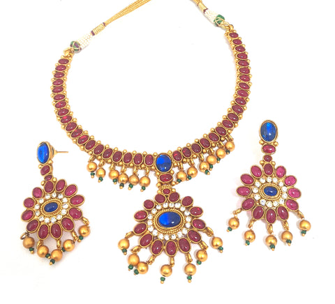 Adigai style kemp stone matte gold finish choker necklace and earring set