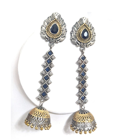 Dual tone oxidized silver and gold polished polki stone pasted dangling long jhumka earring