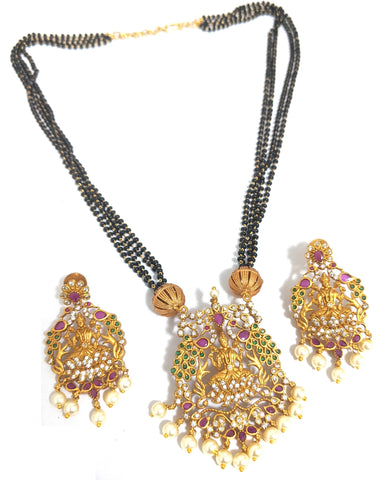 Mangalsutra - Goddess Lakshmi Pendant Gold Matte finish Necklace and Earring set - Multi stranded