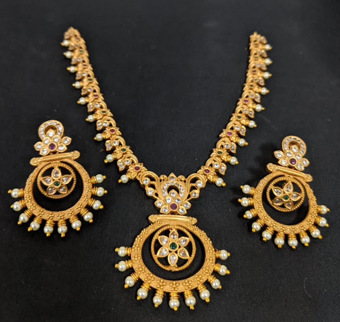 Ramleela style Pendant Traditional matte gold finish Choker Necklace and Earring set