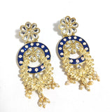 Light Yellow gold polished kundan like stone pasted enamel work flower design earring