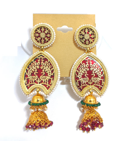 Thewa earring - Dual peacock design - Dual small jhumka hanging long earring