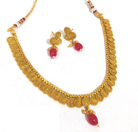 Spiral chakri design simple choker necklace and stud earring set
