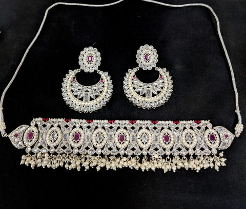 Silver rhodium polished - Chick collar style choker necklace and Ramleela style earring set