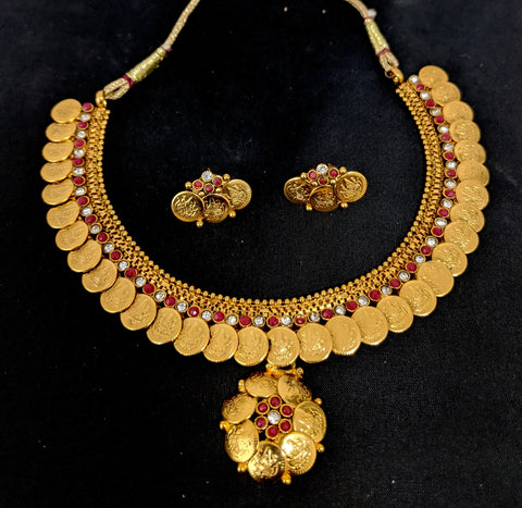 Traditional Goddess Lakshmi coin design choker necklace and stud earring set