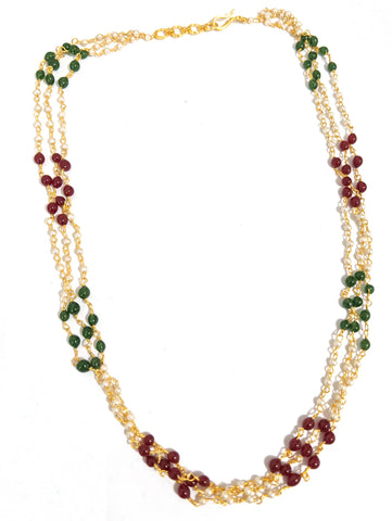 Triple stranded mini bead necklace