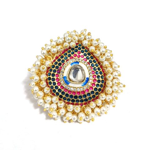XL size tear drop shape meenakari work Pearl cluster surrounding adjustable Finger ring