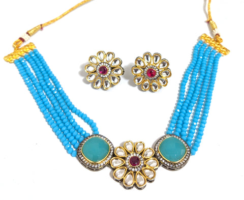 Kundan flower pendant with crystal bead chain collar choker necklace and stud earring set