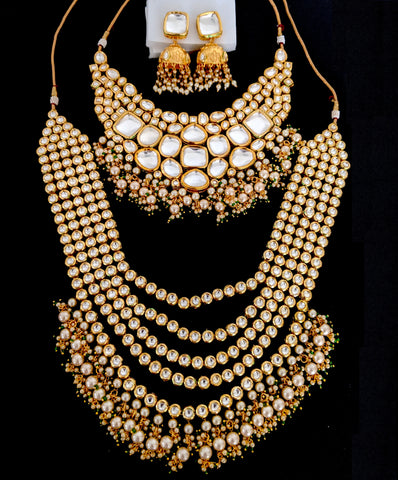 Heavy Bridal Set - Genuine kundan grandeur bridal necklaces and earring set with Maang Tikka