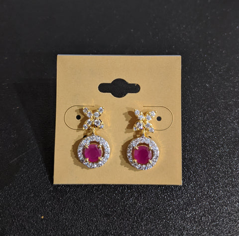 Small flower stud with circle dangling one gram gold polished cz stone small earring