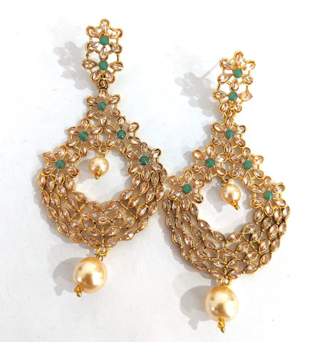 Multiple flower design linked  stylish antique gold earring