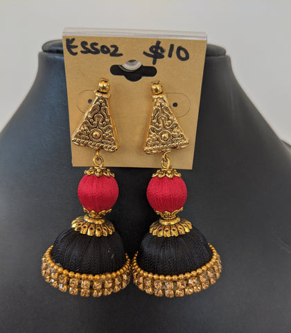 Silk thread ball and medium jhumka with antique gold triangle stud earring