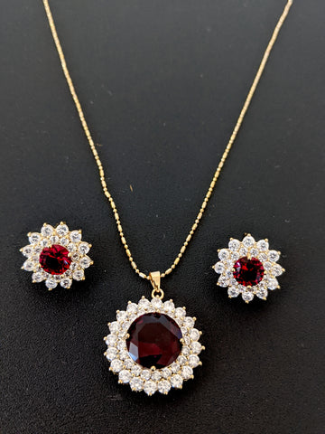 Yellow gold plated Ruby and White CZ stone Pendant and stud earring set