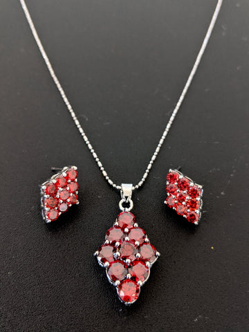 Platinum plated Red Swarovski stone Diamond Pendant and stud earring set