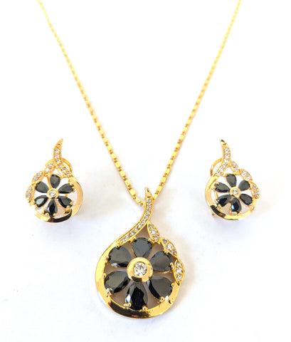 Yellow gold plated Black and White CZ stone Flower Pendant and stud earring set