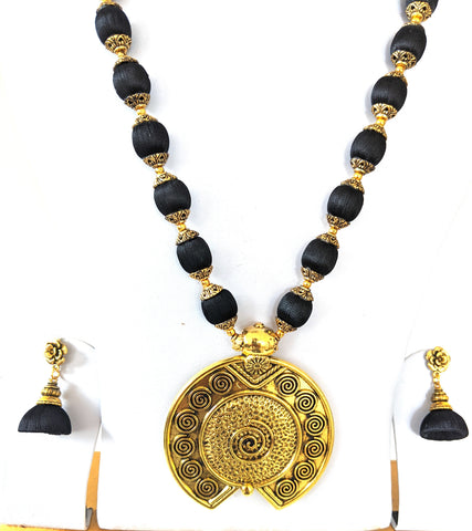 Silk Thread antique gold Circle Pendant Long chain Necklace and rose flower stud Jhumka Earring Set