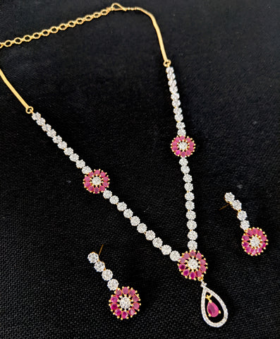 Stylish 2 tone cz stone choker necklace and earring set