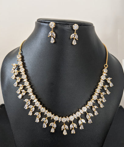 Leaf cz stone choker necklace and earring set