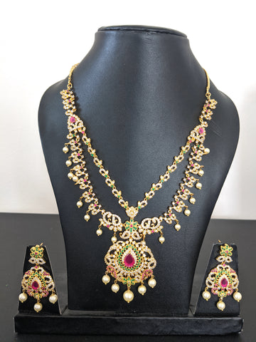 Dual stranded grand CZ stone choker necklace and earring set - Design 1