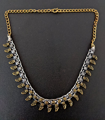 Simple dual tone antique gold n silver curvy spike choker necklace