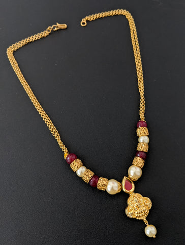 Double stranded gold link chain with Goddess Lakshmi pendant and bead chain necklace