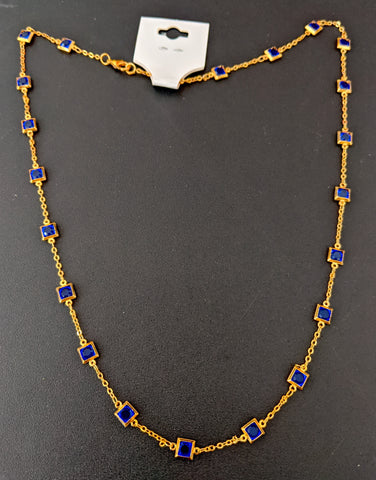 Square glass crystal stone bright gold plated chain Necklace