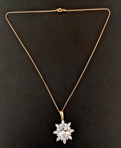 Shiny white Swarovski like pendant with light rose gold link chain necklace
