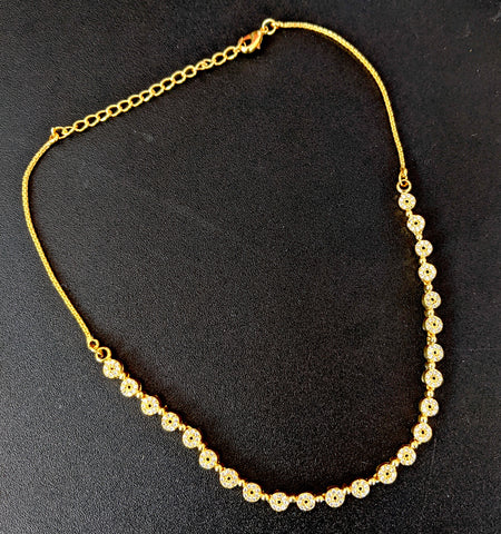 One gram gold plated hollow circle with white CZ stone choker necklace