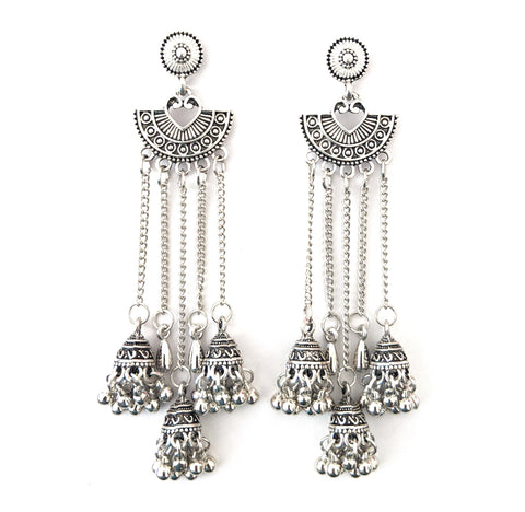 Lightweight Long dangling triple jhumka hanging Arc shape tassel style long earring