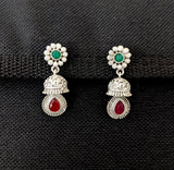 Bright silver matte finish jhumka earring