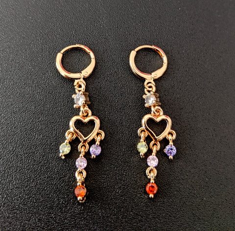 Heart design gold plated multi color cz stone dangling ring style drop earring