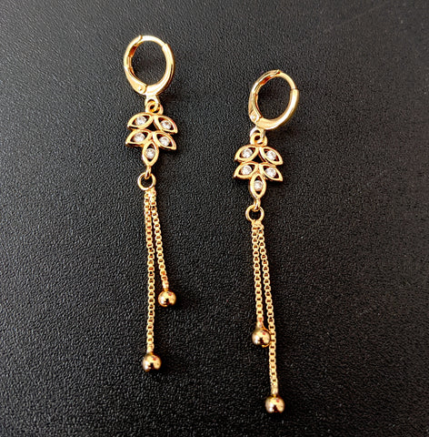 Dual lined gold chain dangling leaf design white CZ stone ring style drop earring