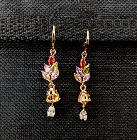 Small jhumka dangling multi color cz stone gold plated ring style drop earring