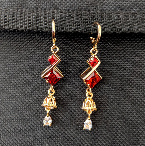 Small jhumka dangling Red cz stone gold plated ring style drop earring