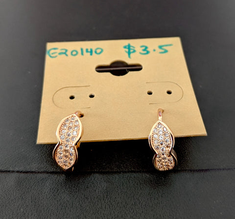 Rose gold plated dual leaf linked design cz stone small ring earring