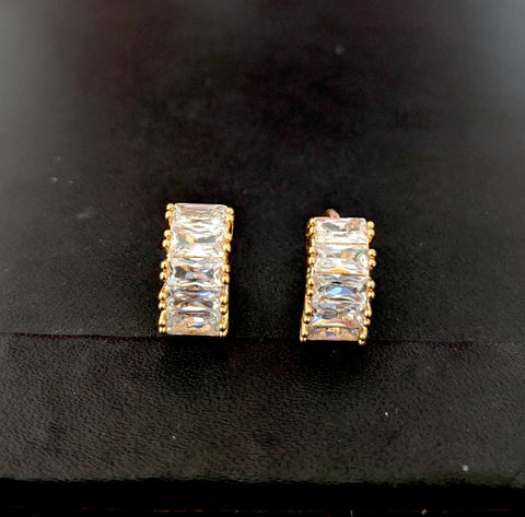 Gold plated 5 rectangle cz stone small ring earring