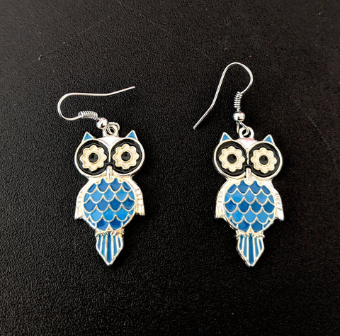 Owl design enamel work hook drop earring