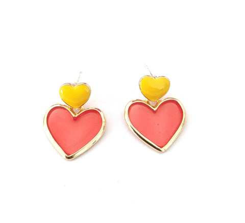 Heart design enamel work stud with transparent resin sheet filled dangle earring
