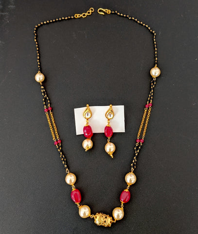 Double stranded Mangalsutra with beads and long earring set