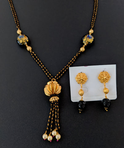 Tassel hanging trendy bead Mangalsutra Necklace and Earring Set