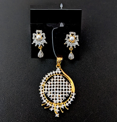 One gram gold plated white Cz stone Pendant and Stud Earring Set