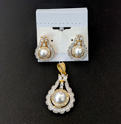Tear drop design One gram gold plated white Cz stone and pearl Pendant and Stud Earring Set
