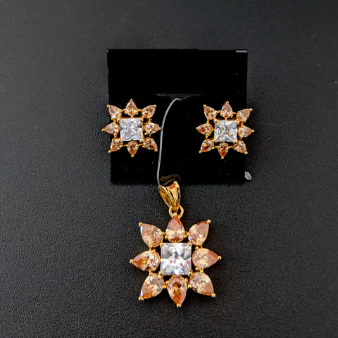 Star design CZ stone Pendant and Stud Earring Set