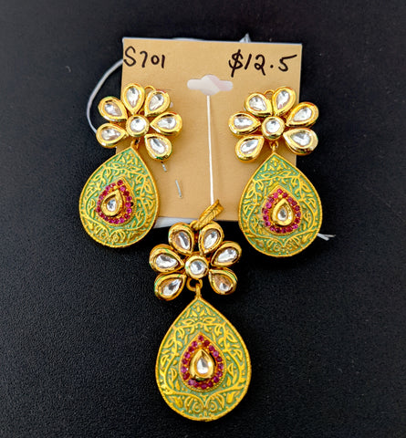 Kundan stone stud with matte meenakari work teardrop design Pendant and Earring Set