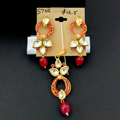 Kundan stone with matte meenakari work designer Pendant and Earring Set