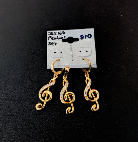 Musical note gold plated pendant and earring set