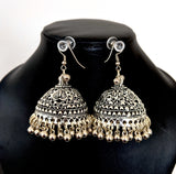 3 pairs for $13.5 Oxidized silver large hook drop jhumka earring - Different designs available