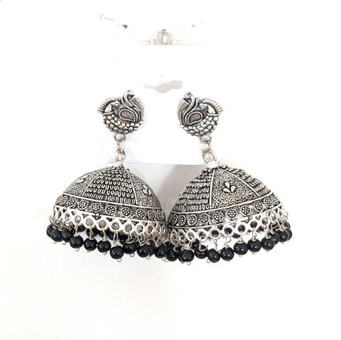 Small peacock stud with large jhumka oxidized silver earring