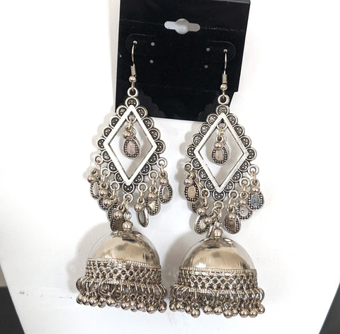 Light weight extral long large silver jhumka earring